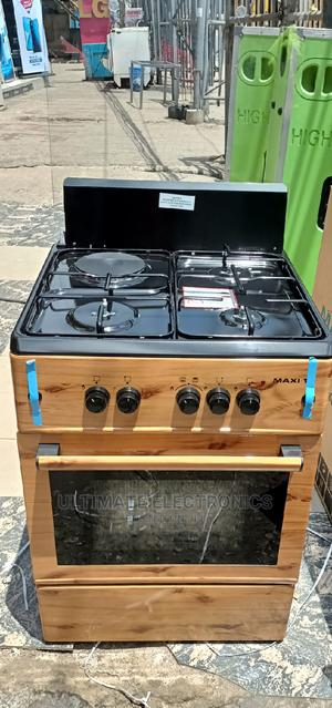 Maxi 60*60cm 3 Burner and 1 Electric,Oven (Wooden Color) | Kitchen Appliances for sale in Lagos State, Ojo