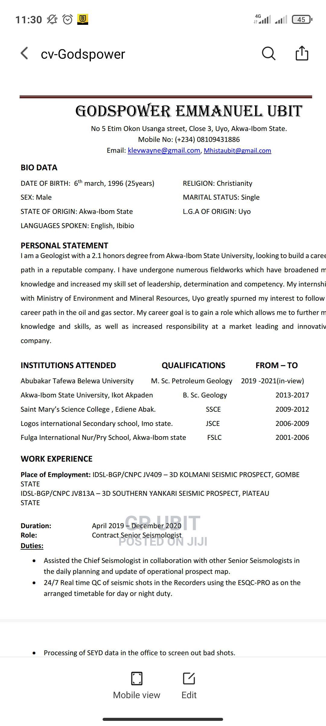 Teaching CV | Teaching CVs for sale in Gwagwalada, Abuja (FCT) State, Nigeria