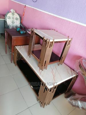 Gold Center Table With Two Side Stool | Furniture for sale in Lagos State, Ojo