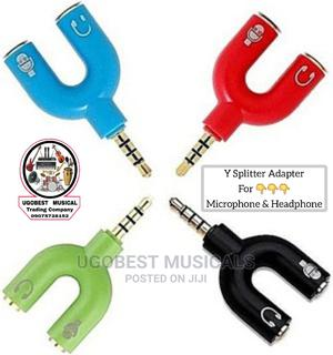 Y Splitter Audio Adapter For Mic Recordings And Headphone | Accessories & Supplies for Electronics for sale in Lagos State, Mushin