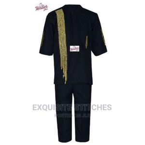 2pcs Black Short Sleeve Boys Native With Gold Waterfall Side | Children's Clothing for sale in Lagos State, Ojodu