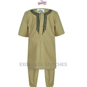 3pcs Boys Agbada + Cap With Black and Gold Embroidery   Children's Clothing for sale in Lagos State, Ojodu