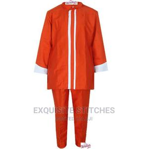 2pcs Boys Orange Bishop Neck Native With White Detail | Children's Clothing for sale in Lagos State, Ojodu