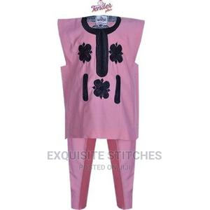 Baby Pink Danshiki Native With Black Embroidery | Children's Clothing for sale in Lagos State, Ojodu