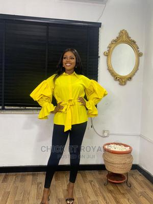 Exaggerated Yellow Sleeve Stretchy Cotton Blouse | Clothing for sale in Lagos State, Ikeja