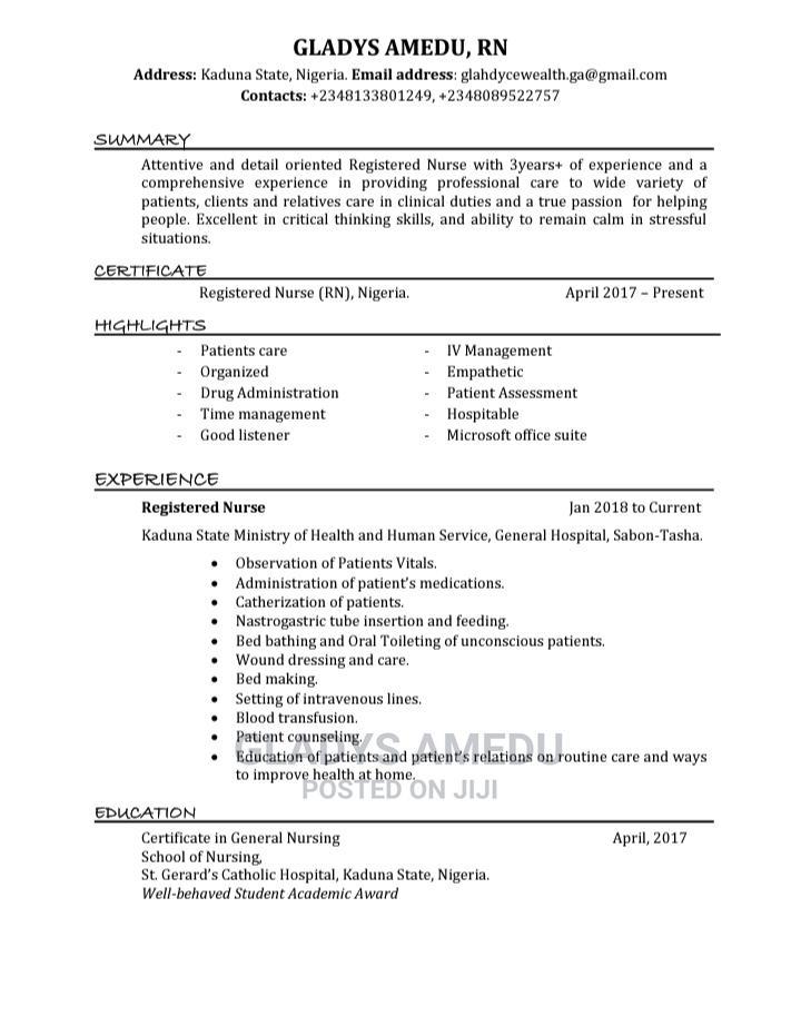 Healthcare Nursing CV | Healthcare & Nursing CVs for sale in Chikun, Kaduna State, Nigeria
