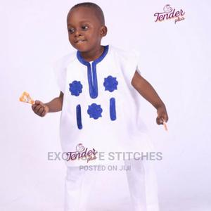 Kid's Wear-Unisex Danshiki-White With Royal Blue Embroidery   Children's Clothing for sale in Lagos State, Ojodu
