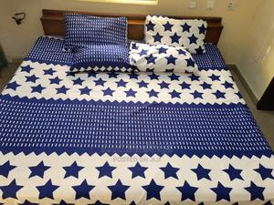 White and Royal Blue Bedsheet With 4 Pillow Covers | Home Accessories for sale in Abuja (FCT) State, Kubwa