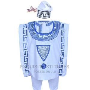 3pcs White Boys Agbada Native and Cap With Royal Blue Embroi | Children's Clothing for sale in Lagos State, Ojodu