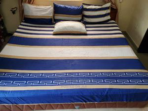 Blue White and Gold 6X7 Bedsheet With 4 Pillow Covers | Home Accessories for sale in Abuja (FCT) State, Kubwa