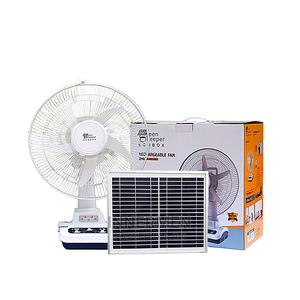 """12"""" Rechargeable Fan/Bulbs + SMD Light + 10W Solar Panel 