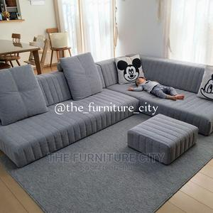 Gray Coloured L-Shaped Sofa With Center Table | Furniture for sale in Lagos State, Ikeja