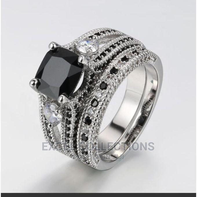 Archive: 2 Set Black White Crystal Platinum Cubic Zirconia Ring