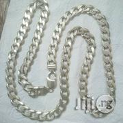 Solid ITALY 925 Original Silver Necklace Cuban Thick Design | Jewelry for sale in Lagos State, Lagos Island