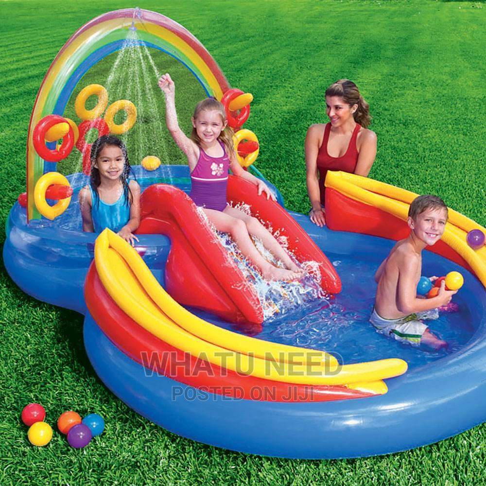 Archive: Intex Inflatable Rainbow Slide Kids Pool + Electric Pump
