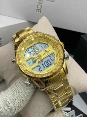 Men's Gold Stainless Iced Steel Wrist Watch | Watches for sale in Lagos State, Ikorodu