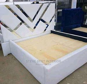 6by6 Upholstery Gold Trips Padded Bed Frame   Furniture for sale in Lagos State, Ojo