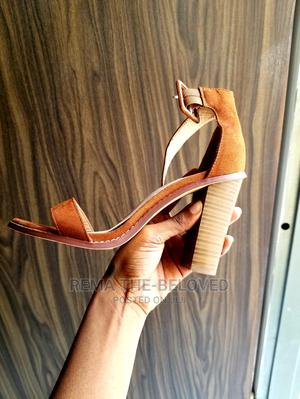 Brown Rough Suede Chunky Heel Sandal   Shoes for sale in Lagos State, Lekki