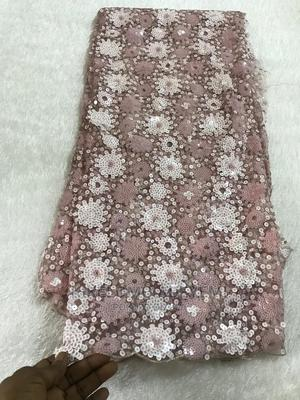 Pink Sequins Net Lace   Clothing for sale in Lagos State, Ajah