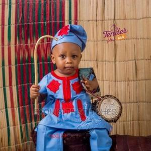 Sky Blue Danshiki Native With Red Embroidery +Cap | Children's Clothing for sale in Lagos State, Ojodu