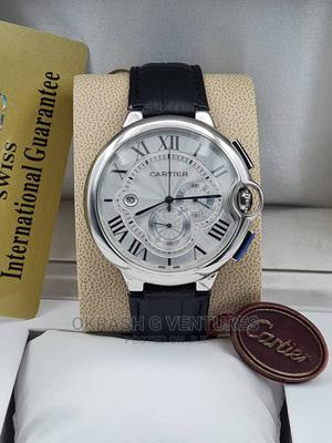 Cartier Chronograph Silver Leather Strap Watch   Watches for sale in Lagos State, Lagos Island (Eko)