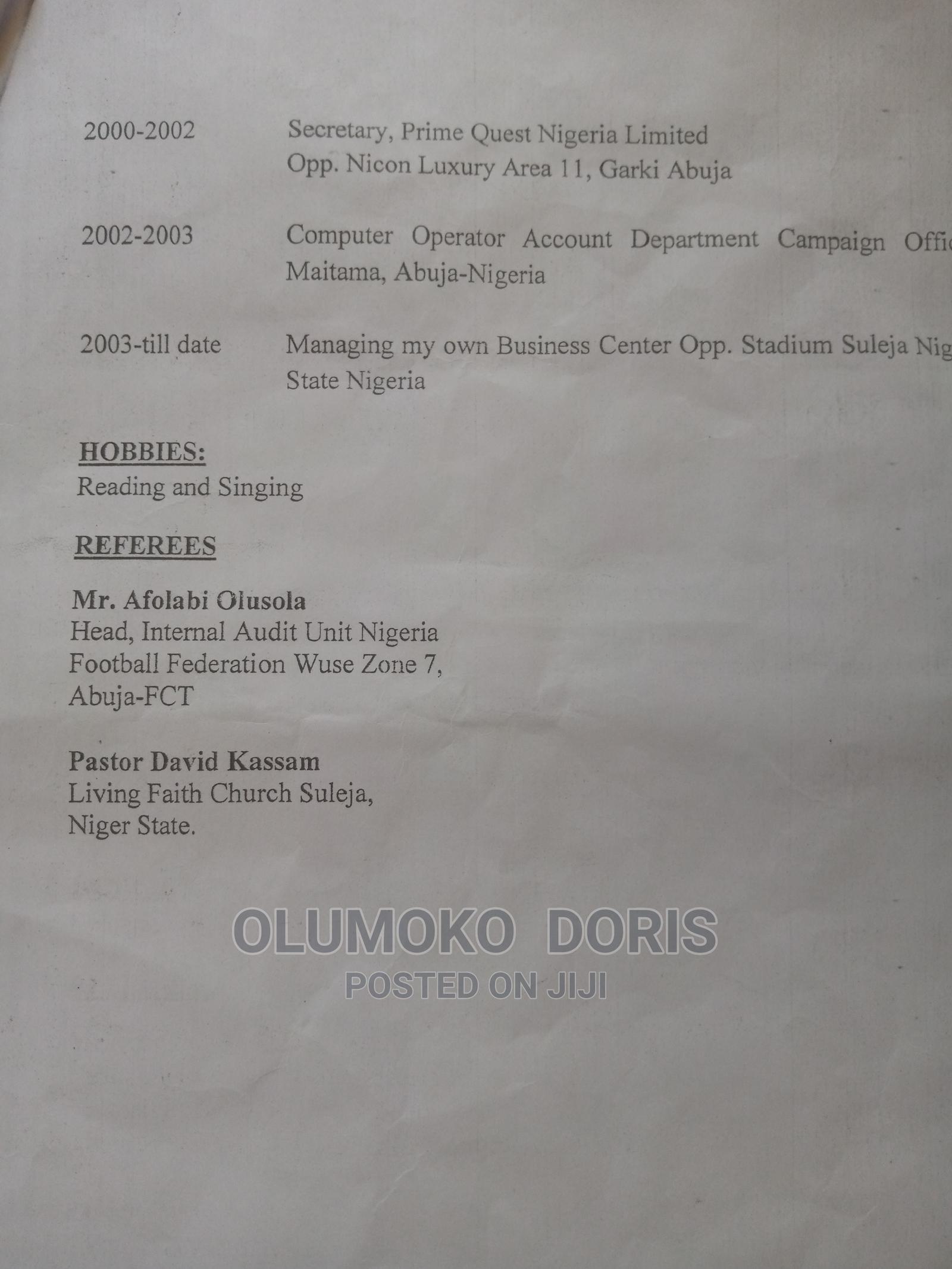 Cle Administrative CV | Clerical & Administrative CVs for sale in Garki 1, Abuja (FCT) State, Nigeria