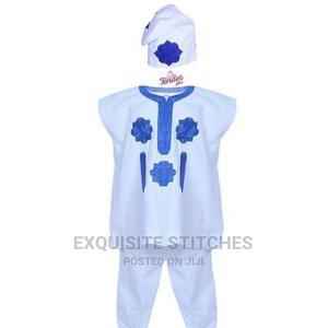 White Danshiki Native and Cap With Royal Blue Embroidery | Children's Clothing for sale in Lagos State, Ojodu