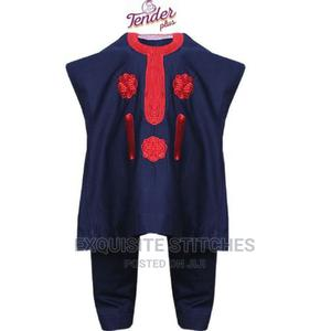 Navy Blue Danshiki Native With Red Embroidery | Children's Clothing for sale in Lagos State, Ojodu