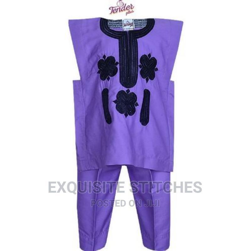 Purple Danshiki Native With Black Embroidery