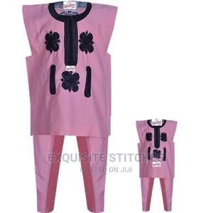 Mum and I Danshiki Native- Pink With Black Embroidery Mum Si | Children's Clothing for sale in Lagos State, Ojodu