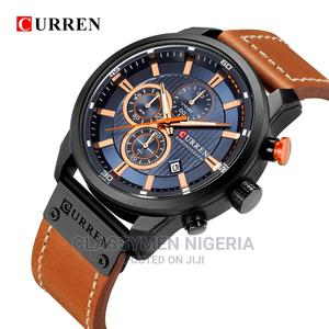 CURREN Luxury Waterproof Chronograph Brown Leather Watch | Watches for sale in Lagos State, Ejigbo