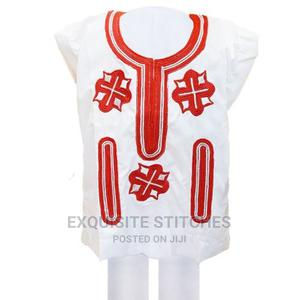 Kids Children Native Wear-White Danshiki With Red Embroidery | Children's Clothing for sale in Lagos State, Ojodu