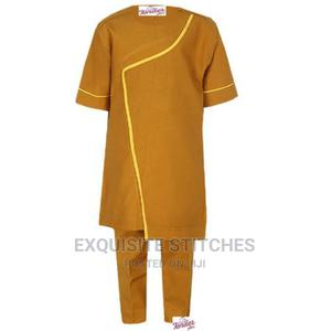 2pcs Boys Brown Asymmetrical Native With Yellow Detail | Children's Clothing for sale in Lagos State, Ojodu