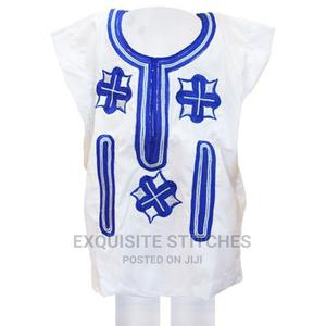 Kids Childfen Native Wear-White Dansiki With Blue Embroidery | Children's Clothing for sale in Lagos State, Ojodu