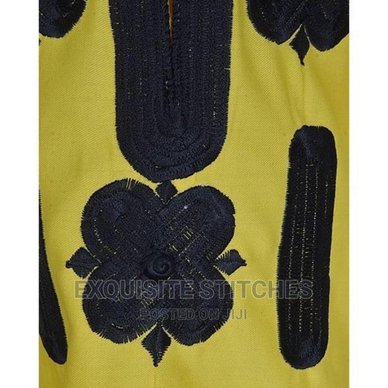Yellow Danshiki Native With Black Embroidery