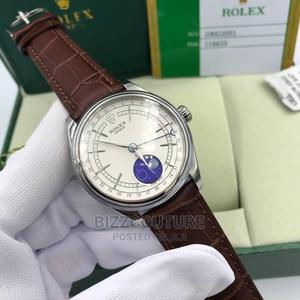 High Quality Rolex Cellini Moonphase Brown Leather Strap   Watches for sale in Lagos State, Magodo