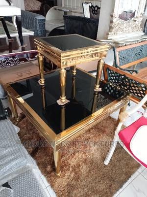 Gold Center Table and Two Side Stools | Furniture for sale in Lagos State, Ojo
