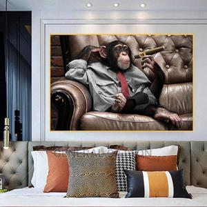 Monkey Gorilla on Sofa Smoking Pictures Canvas Painting | Arts & Crafts for sale in Lagos State, Ikoyi