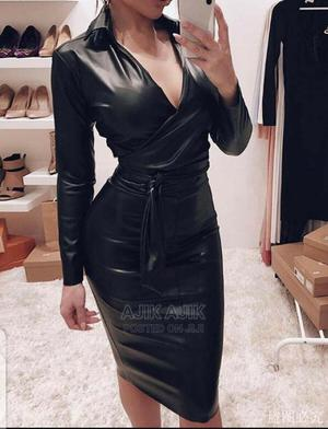 Hot Sale Women Casual V Neck Jumper Dress PU Leather Long   Clothing for sale in Oyo State, Ibadan