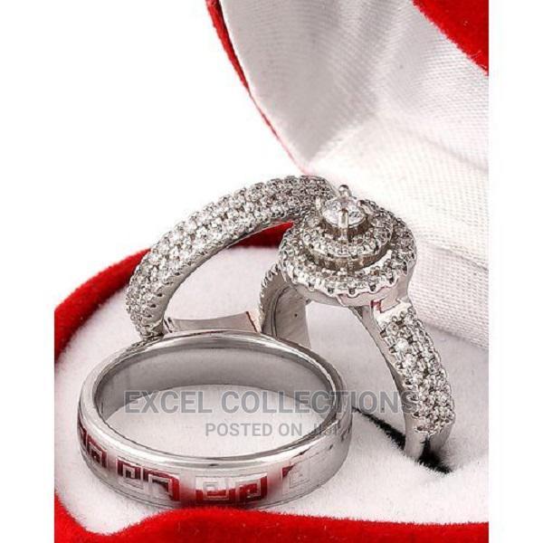 White Sapphire and Diamond Stone Silver Wedding Ring Set
