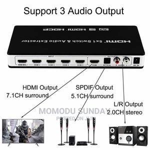 5 Port HDMI Switch 5x1 With Audio Extractor Support 4K 3D AR   Computer Accessories  for sale in Lagos State, Ikeja