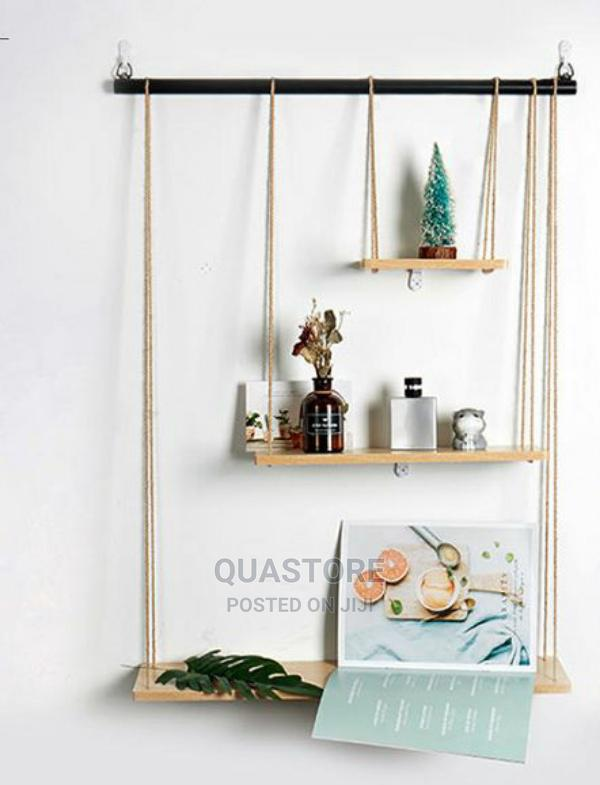 3layer Rope, Wood and Metal Floating Shelf.
