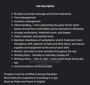 Massage Therapist Needed Urgently In A Spa | Healthcare & Nursing Jobs for sale in Lagos State, Surulere