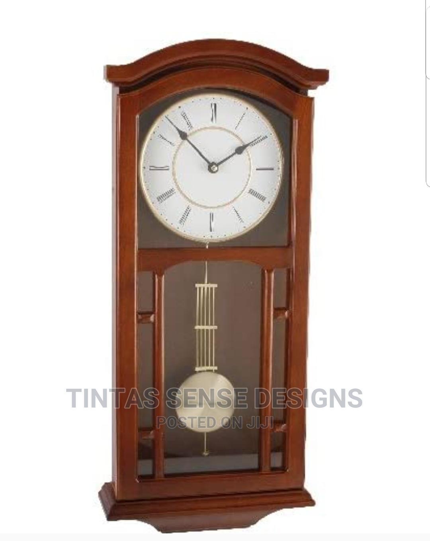 Wm Widdop Elegant Wooden Pendulum Wall Clock With Roman Dial