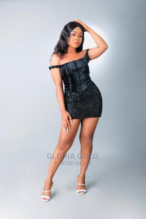 STQ Black Sequine Velvet Back Tie Mini Dress   Clothing for sale in Lagos State, Alimosho