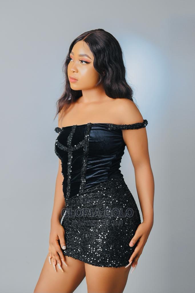 STQ Black Sequine Velvet Back Tie Mini Dress   Clothing for sale in Alimosho, Lagos State, Nigeria
