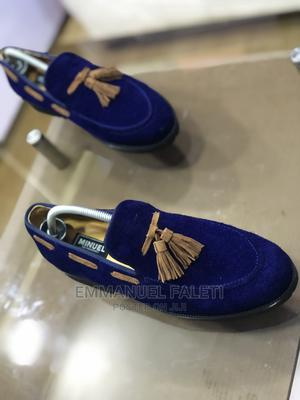 Blue Suede Loafers With Golden Brown Suede Tassel   Shoes for sale in Lagos State, Mushin