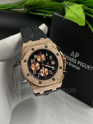 Ap Black Face Leather Wrist Watch   Watches for sale in Lagos State, Amuwo-Odofin