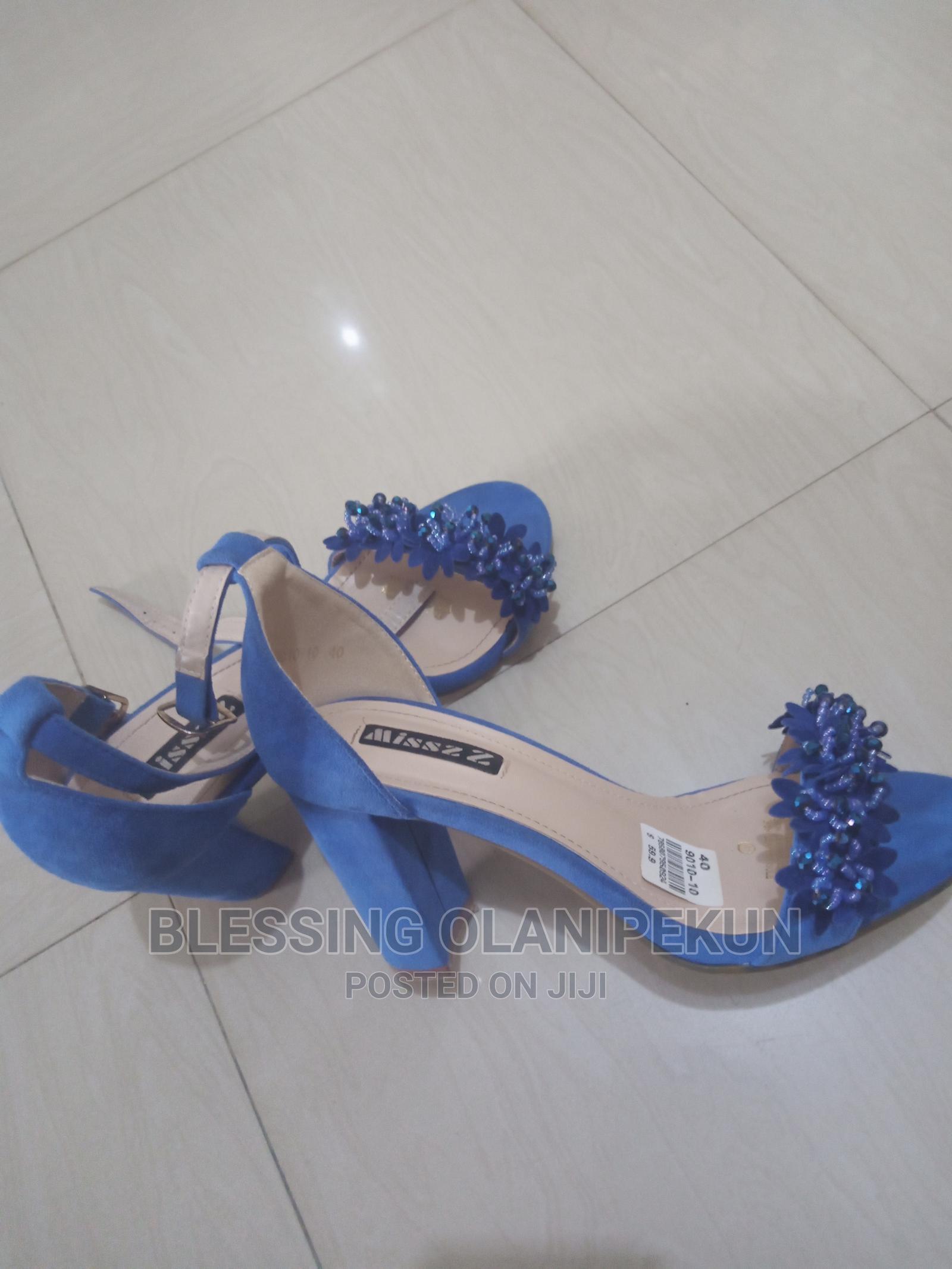 Suede High Heeled Royal Blue Sandals