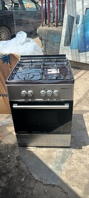 Maxi Gas Cooker 60X60 4 Burner Oven Basic Black Grey | Kitchen Appliances for sale in Lagos State, Ojo